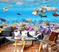 Custom 3D Large Murals Beautiful Blue Sea Floor Colorful Coral Landscape Living Room Sofa TV Wall
