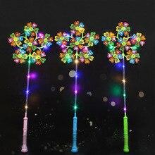 50P детская светящаяся ветряная мельница, блестящая классическая игрушка со смайликом, одна рука вмещает 6 вентиляторов с подсветкой, чтобы культивировать детские визуальные ощущения