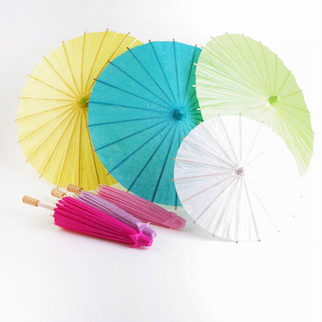 30CM Chinese Colored Paper Umbrella Traditional Decorative Arts And Crafts DIY Blank Hand