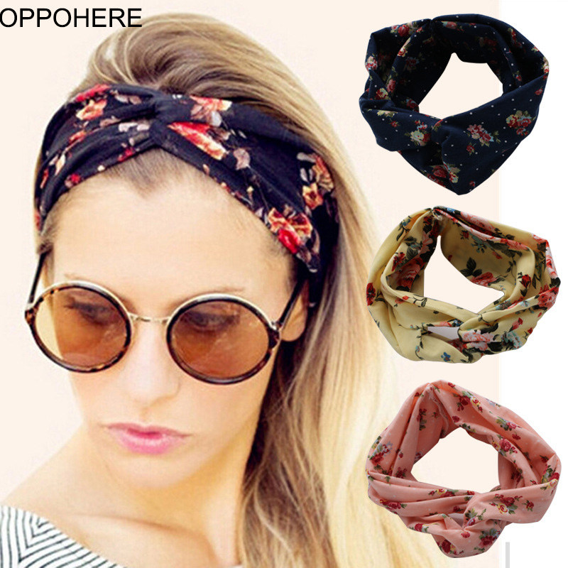 Flower headband Fashion Retro Women Elastic Turban Twisted Knotted Ethnic Headband Floral Wide Stretch Girls Hair Accessories metting joura vintage bohemian green mixed color flower satin cross ethnic fabric elastic turban headband hair accessories