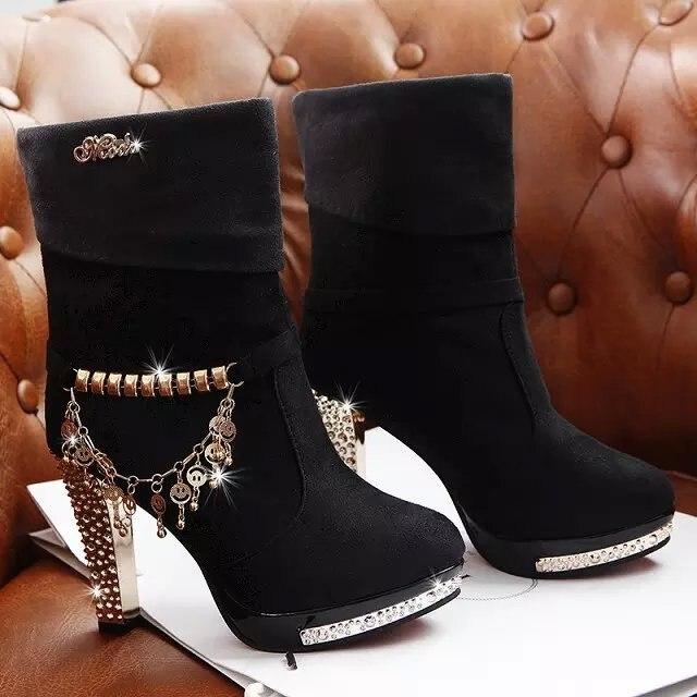 Otoño Del Tacón Mujer Redondo Más De Pie Dedo Moda La Tamaño Cristal Chelsea Rebaño Sólido Alta Negro azul Casuales Cuadrado Zapatos Bling Botas EqAvIxpw