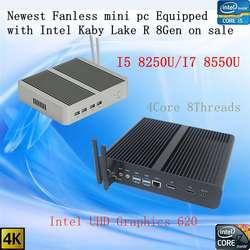 Новые Kaby Lake R 8Gen безвентиляторный i5 8250u/i7 8550u Intel UHD 620 win10 4 ядра 8 потоков DDR4 2133 NUC 2400 Бесплатная доставка pc