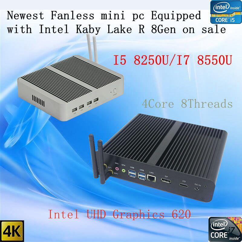 Plus récent Kaby Lake R 8Gen Fanless pc i5 8250u/i7 8550u Intel UHD 620 win10 Quad Core 8 Fils DDR4 2133 2400 NUC Livraison Gratuite pc