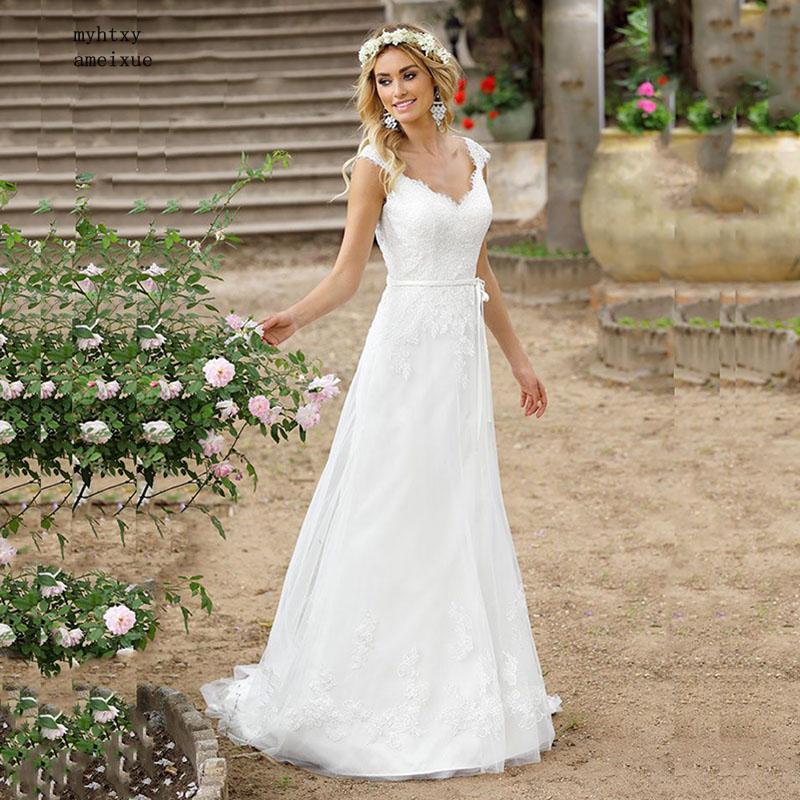 Vestidos De Novia 2019 Beach Cheap Boho Wedding Dress Buttons Back Lace Applique A-line Princess Wedding Gown China Bridal Gowns