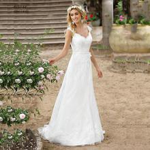 Vestidos De Novia 2020 BeachราคาถูกBohoงานแต่งงานชุดปุ่มกลับลูกไม้Appliqueเจ้าหญิงA Lineชุดแต่งงานจีนชุดเจ้าสาว