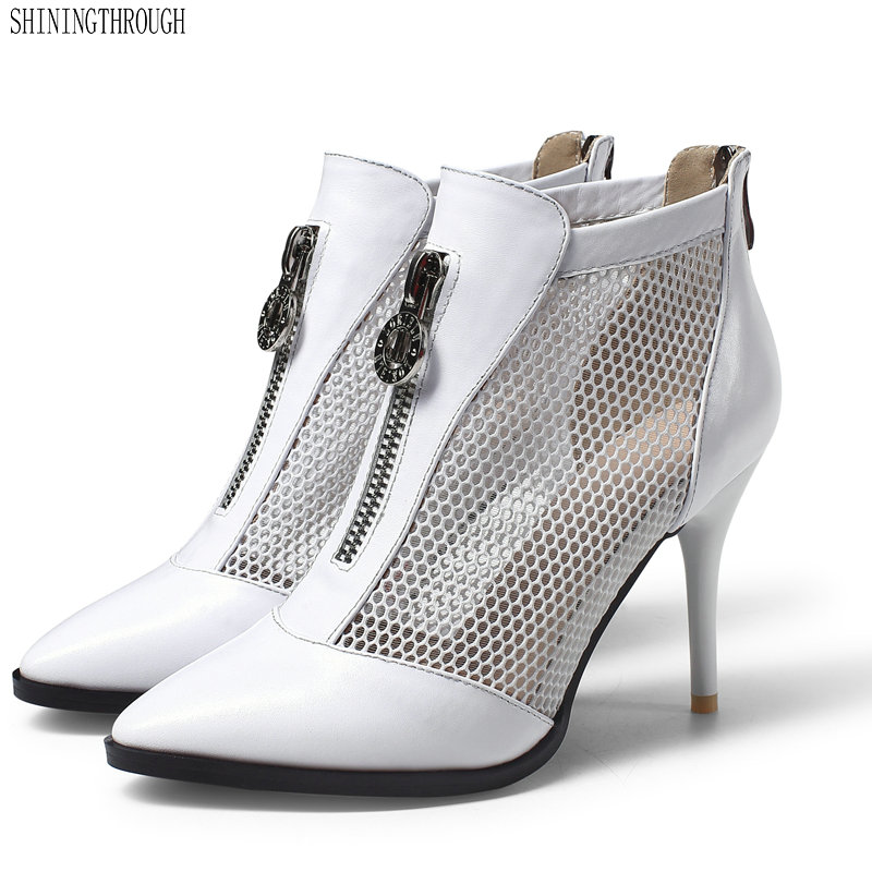 Cow leather Women Ankle Boots Summer Boots New Fashion Cutouts zipper 9cm thin high Heels Shoes