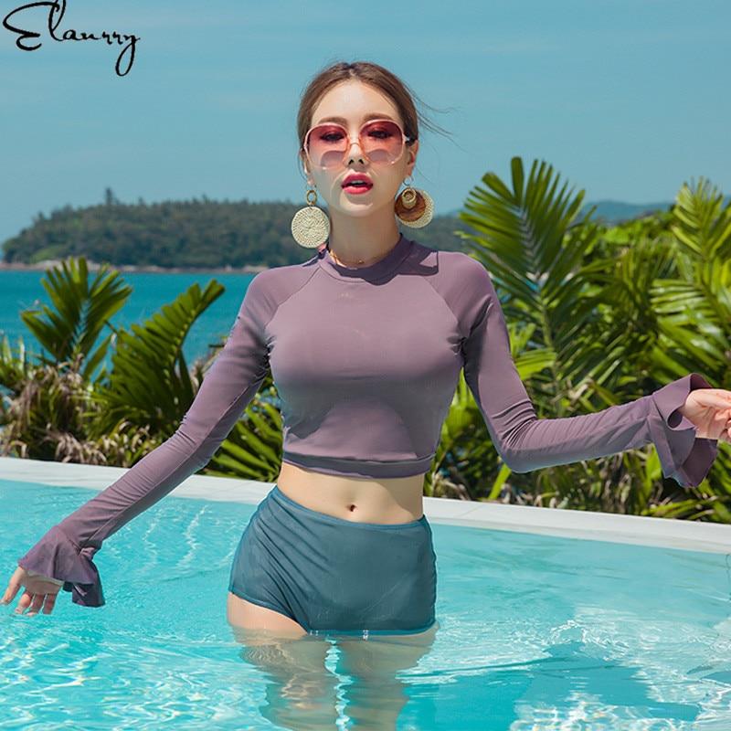 2019 Women High Waisted Bikini Set Long Sleeves Solid Padded Swimsuit High Neck Summer Swimwear Sport Buiquini Maillot