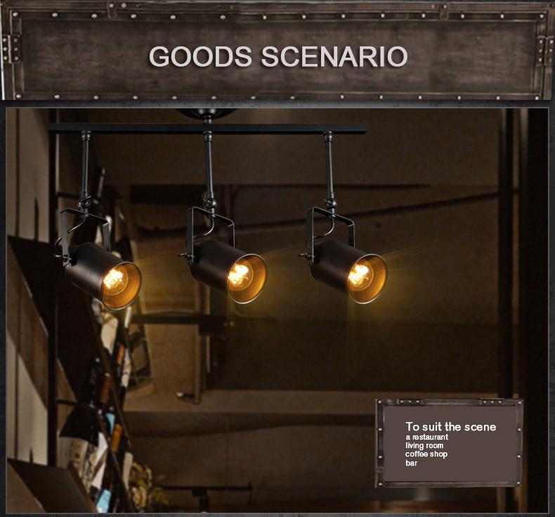 2/3 Heads LED Track Light Vintage Black Track Lamp Clothing Store  Spotlights Industrial American Style Loft Rail Spot Lights