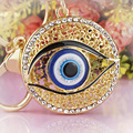 Evil Eye Hollow Out Round Metal Key Chains Rings Crystal Rhinestone Purse Bag Buckle Pendant For Car Keyrings KeyChains K165