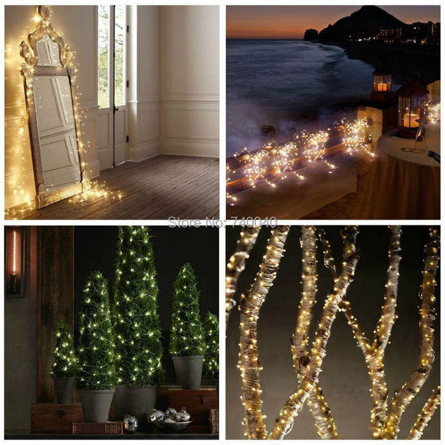 Solar Powered Home Garden Decor Christmas Ambiance Tree Copper Wire Starry String Flashing Fairy Lights Warm White Holiday Party
