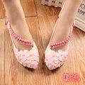 Белый/Розовый/Фиолетовый цвет Лук Свадебные Туфли Невесты Обувь 3 см/5 см Каблук Сладкая Принцесса Обувь женские Туфли Женщин Насосы