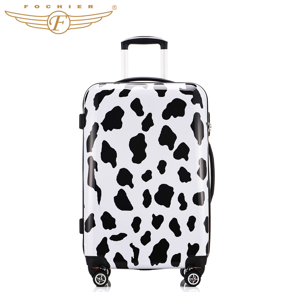1 Piece Hardside Travel Luggage Suitcase 20 24 28 Cow Printing Spinner 4 Wheels ABS PC Lightweight Password Lock Fochier XQ001
