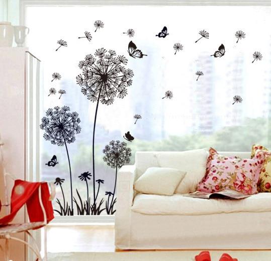 thuis decoratieve accessoires stickers zwart paardebloem poster woonkamer slaapkamer sofa tv achtergrond verwijderbare pvc muurstickers