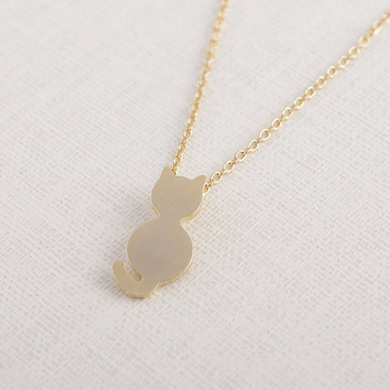 Daisies Pendant Necklacecute simple cute sweet Jewelry tiny cat necklace Kitten gift wedding For Girl Women One Piece