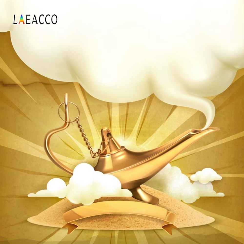 Laeacco Golden Aladdins Lamp White Smoke Fairytale Baby Photocall Photography Background Customized Backdrops For Photo Studio