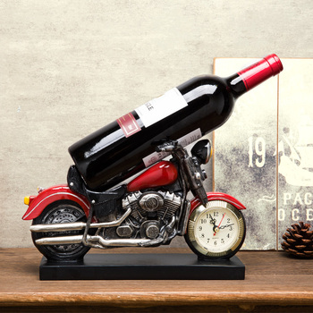 Unique creative motorcycle modeling resin wine Holders Personality home wine rack with clock desktop decoration