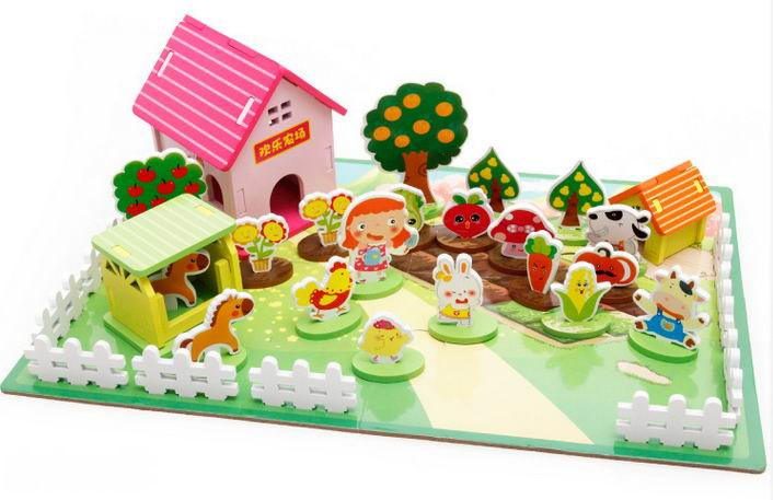 children wooden 3D puzzle toys/ cute farm with plant animals assemble puzzles for Kids Child learning educational toys, box pack hand grasp knob pegged puzzle wooden quality animals characters letter cognitive board children recognization toys
