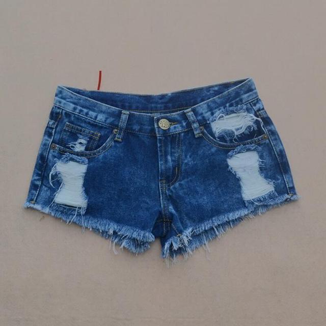 Casual Women Short Jeans 2016 Summer Cool Low Waist Denim Shorts Feminino Fashion Hole Tassel Sexy Cotton Jeans Shorts Ladies