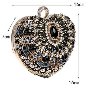 Image 4 - SEKUSA Heart Women Bag Finger Ring Diamonds Purse Clutch Chain Shoulder Emroidery Messenger Bag Beaded Rhinestones Weeding Bag