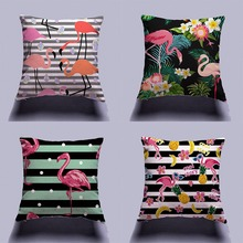 Flamingo Tropical Green Plants Cotton Linen Throw Pillow Cushion Cover Car Home Decoration Sofa Decor Decorative Pillowcase