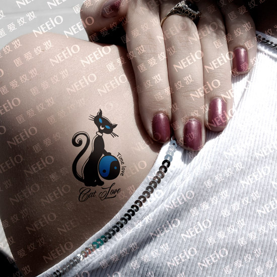 Femmes Sexy Temporaire Tatouages Petit Minou Bleu Noir Chat Ensemble