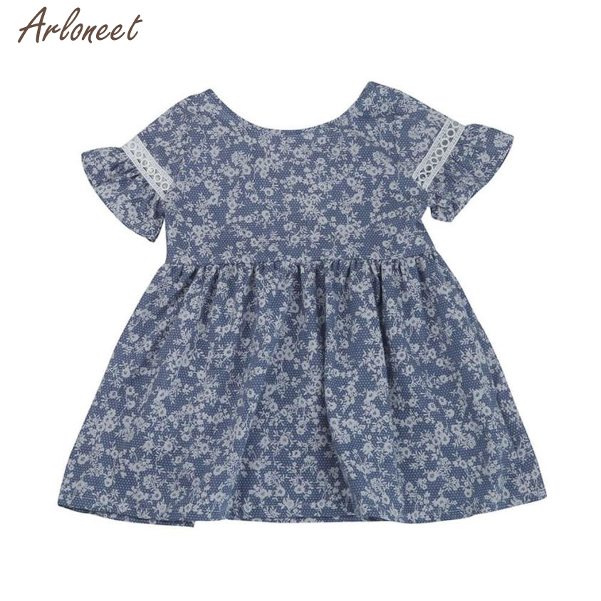 2018 dress baby girl summer print casual short sleeve Flower Backless Lace dresses baby girl fancy JAN11