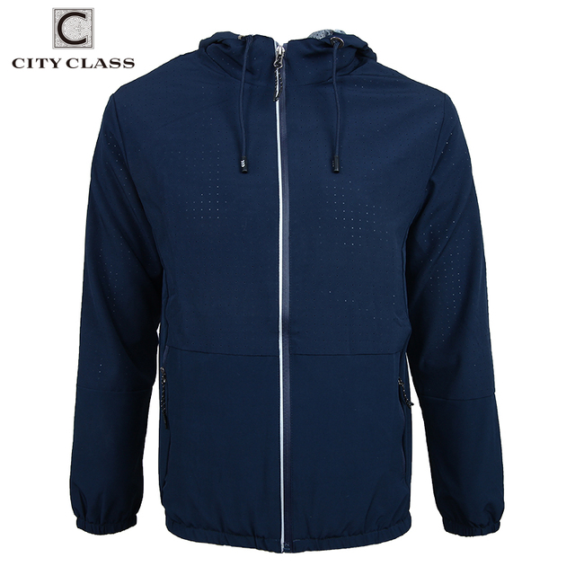 6687f8db69f CITY CLASS Summer mens breathable pored jackets slolid fashion coats male casual  hooded bomber jacket men overcoat 1707