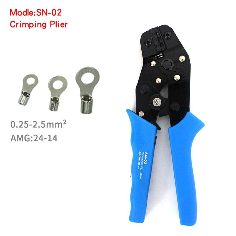 Werkzeuge Zangen Hight Qualität Professionelle Ratchet Sn-02 0,25-2.5mm2 24-14awg Crimpen Zange Terminal Klemmen Werkzeuge Für Nicht Isolierte Terminals