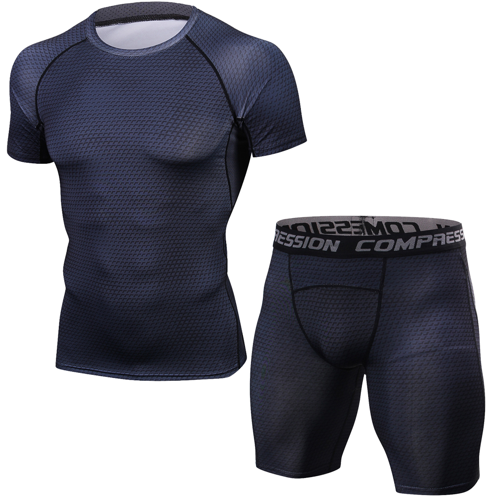 MMA Muscle Men Tracksuit Compression Set T Shirt Men's Fitness Tights Short Sleeeve Suits Sportswear Gyms Clothing