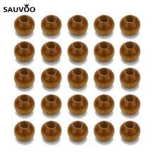 SAUVOO – lot de 500 boules en bois naturel, perles brunes, trou de 2mm, perle européenne pour bricolage, Bracelet, collier, accessoires de bijoux