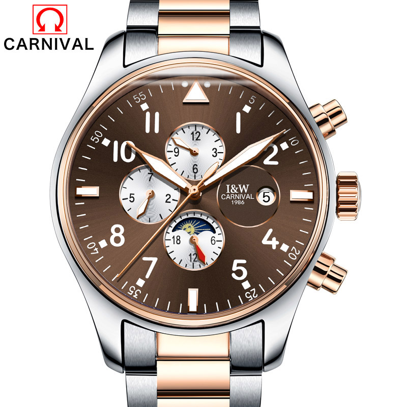 Carnival Watch Men Moon Phaes Automatic Mechanical Luminous Stainless Steel Waterproof multifunction Brown Watches цена и фото