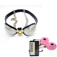 Stainless Steel Male Chastity Belt Bra Fetish Bdsm Bondage Chastity Controlled Device Adult Electro Shock Sex Toys For Couples