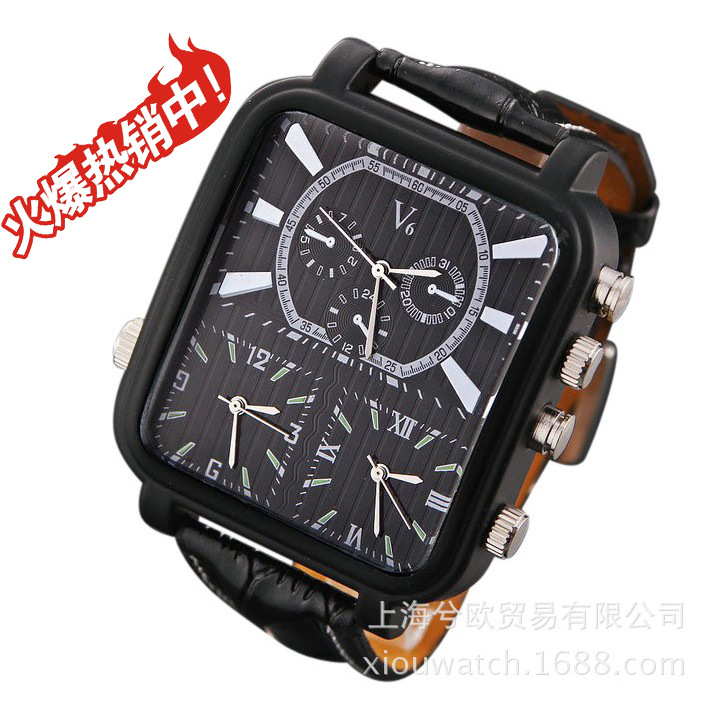 V6 Men s Sports Watches Men Luxury Brand Multiple Time Zone Military Watches Male Business Square