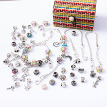 6 in 1 Charm Bracelet Making Kit DIY Craft European Bead Silver Plated Snake Chain Jewelry Gift Set for Girls Teens SL2003