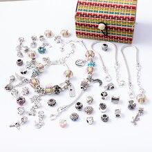 6 in 1 Charm Bracelet Making Kit DIY Craft European Bead Silver Plated Snake Chain Jewelry Gift Set for Girls Teens SL2003 недорого