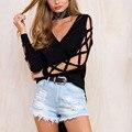 Hollow Out Long Sleeve Design Women Autumn Blouse Shirt Sexy V Neck Split Irregular Hem Tee Shirt 2017 Fashion Plus Size XXXL
