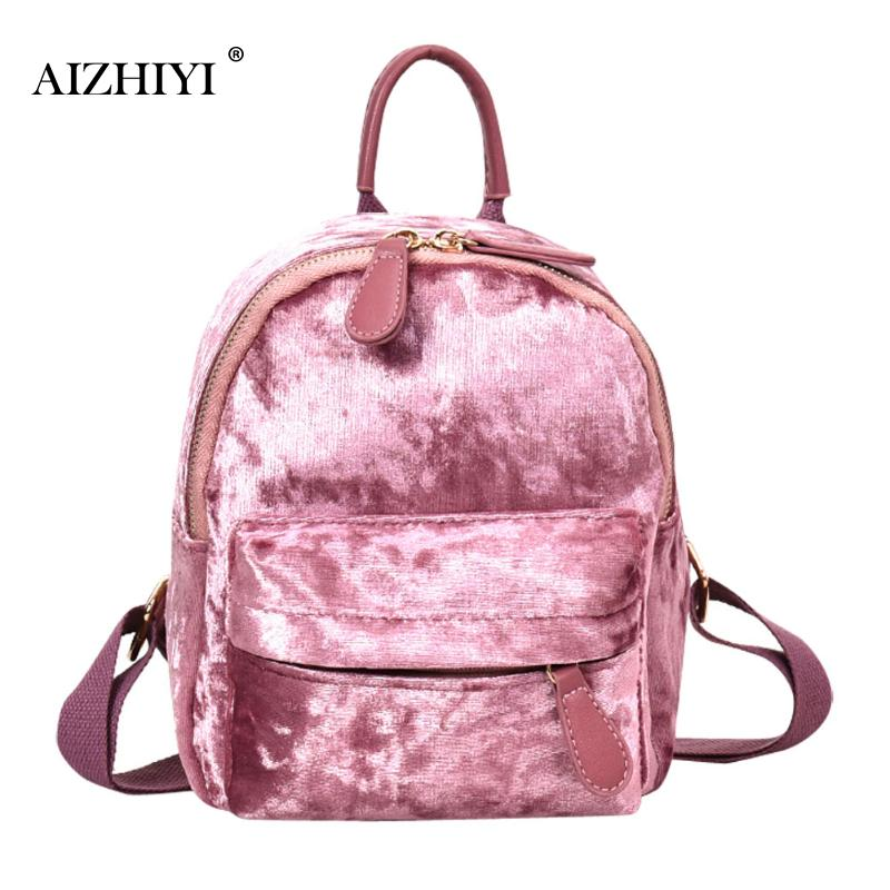 Women Soft Velvet Backpack Casual Teenager Girls Small School Bag Female Simple Travel Rucksack Bolsas Feminina 23 X 17 X 5cm