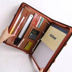 A4 zipper PU leder business büro manager dokument tasche datei ordner portfolio konferenz vereinbarung aktentasche mit griff 442C