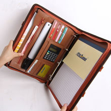 купить A4 zipper leather manager document bag a4 file folder holder with handle calculator for business office conference  442A по цене 3167.15 рублей