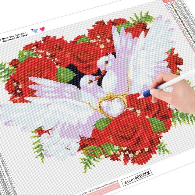 Huacan 5D DIY Diamond Embroidery White Pigeons Full Square Diamond Painting Cross Stitch Rhinestone Mosaic Painting