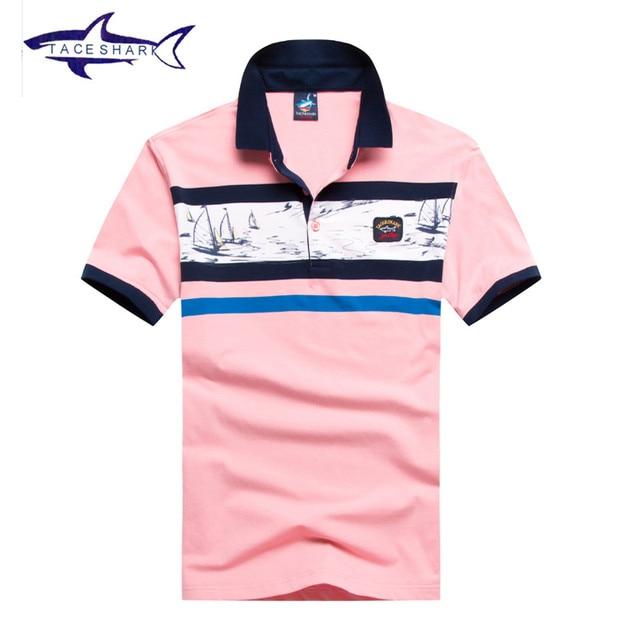 4cbf8e8ba Mens polo shirt brands 2017 patchwork slim fit European style Tace & Shark  polo men yachting Summer casual polo shirt shark logo