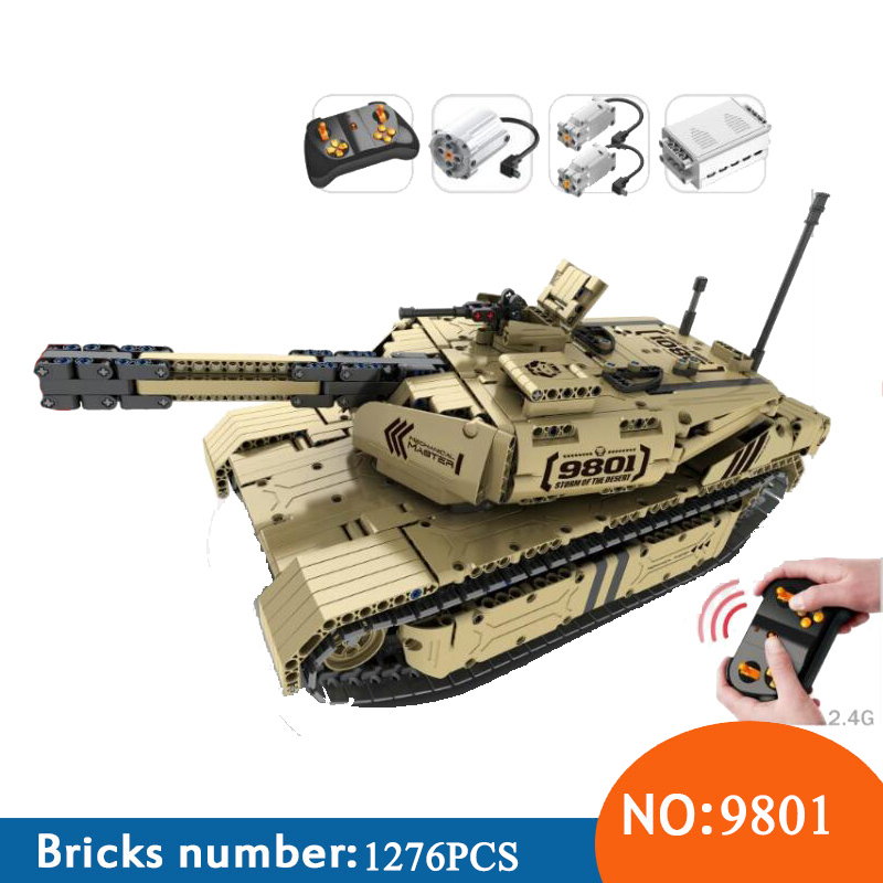 AIBOULLY 9801 Military Remote Control RC M1A2 Main Battle Tank 50M Distance Can Rotate Launch Building