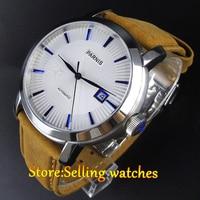 """42 מ""""מ Parnis הלבן חיוג ספיר זכוכית חלון תאריך Miyota האוטומטי mens watch-בשעונים מכניים מתוך שעונים באתר"""