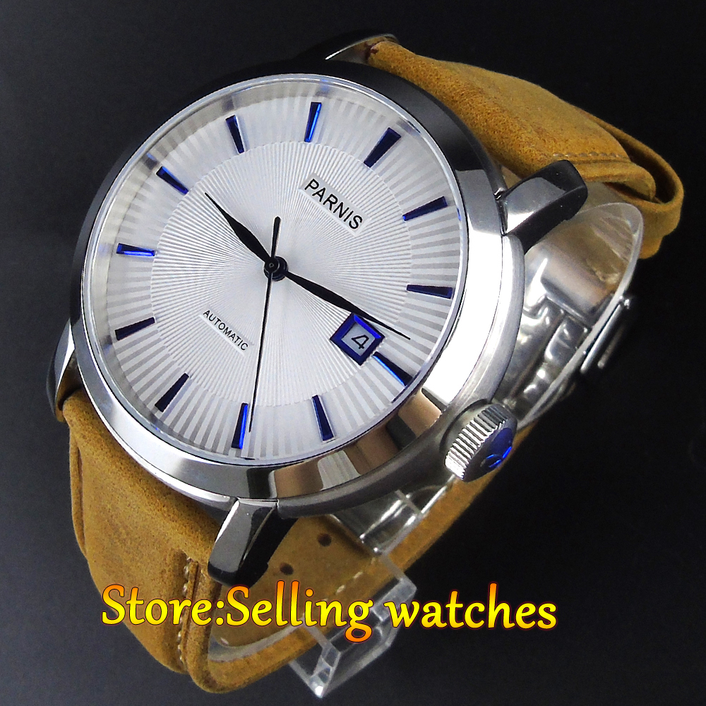 лучшая цена 42mm Parnis white dial Sapphire glass date window Miyota automatic mens watch