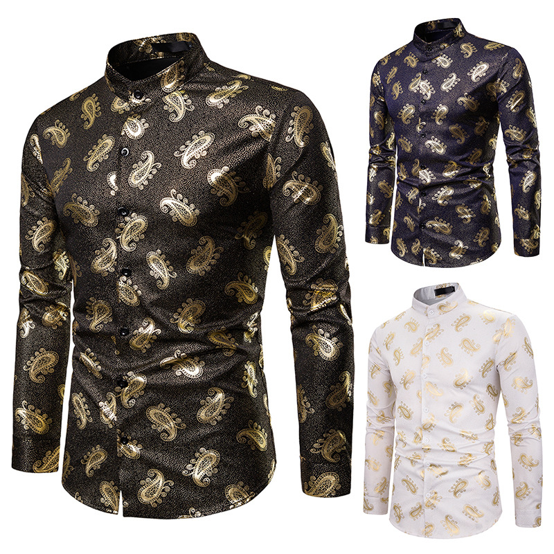 Men Brand Hipster Luxury black gold print Bronzing Printed Long Sleeve Dress Shirts Night club party Singer stage Shirt Homme(China)
