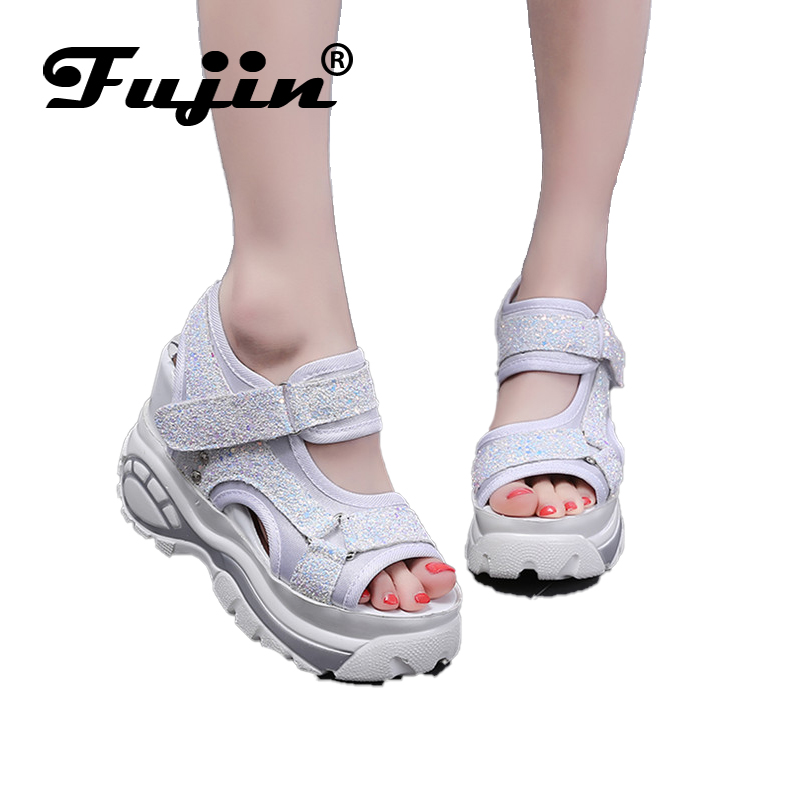 Fujin Summer Shoes Buckle Sandals Bling High-Heel Fashion Popular Women for Bottom