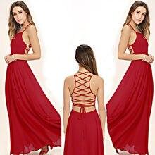 ce8e073acd Backlakegirls Vintage Halter vino rojo Cruz vestido de noche de gasa Sexy  Backless sin mangas piso de longitud 2018 nuevo vestid.