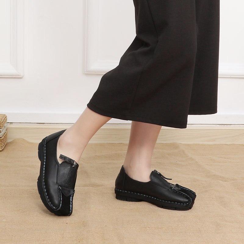 Plataforma caqui Del Redondo 2019 Casuales Genuino Dedo otoño Plana Cremallera Primavera Zapatos Nueva Baja Negro Mujer De Pie Cuero Johnature Mocasines ZqvRO1v