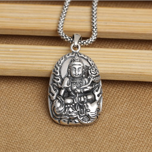 Handmade 925 silver Samantabhadra Buddha Amulet tibetan Buddha Pendant god of people boin in the Chinese dragon & snake years michael dobbs the buddha of brewer street