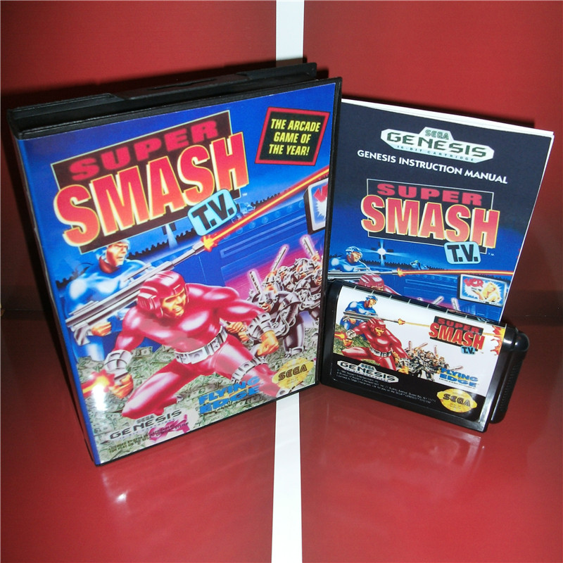 Super Smash T.V.  US Cover with box and manual For Sega Megadrive Genesis Video Game Console 16 bit MD card